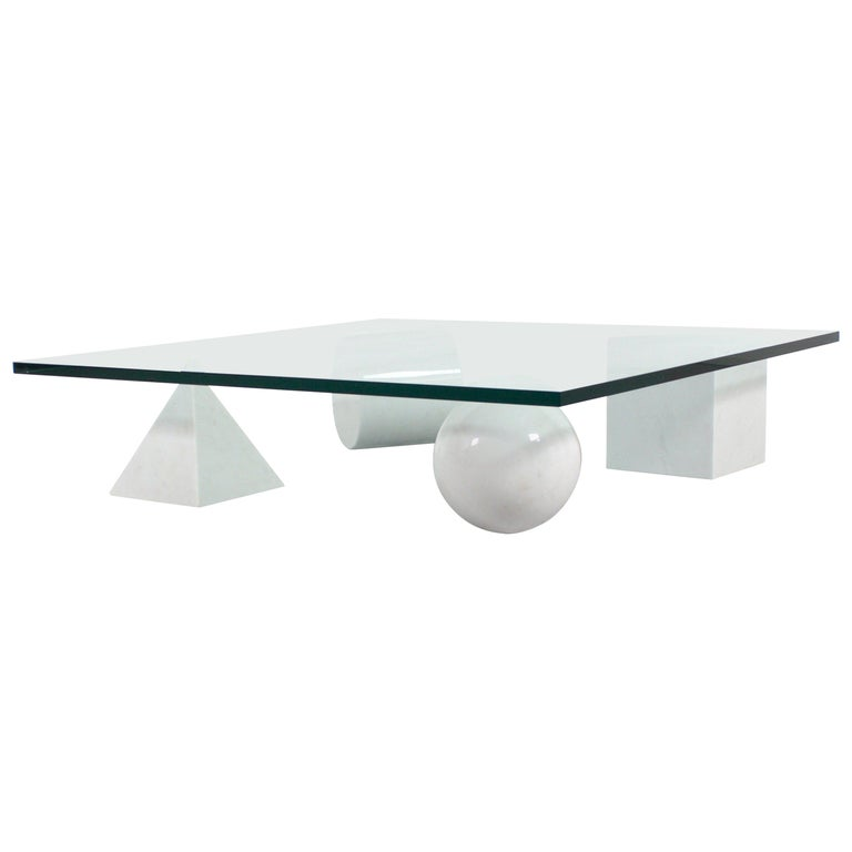 Massimo and Lella Vignelli 'Metaphora' Coffee Table in Carrara Marble and Glass For Sale