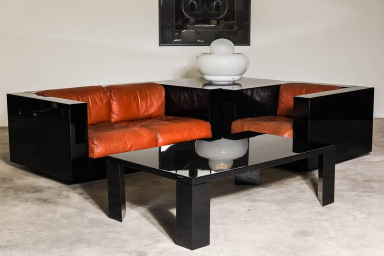"""The complete living collection of """"Saratoga"""" by Poltronova designed by Lella and Massimo Vignelli – A rare collector set. The """"Saratoga"""" is one of the first examples of Modern Living created in the 1960s but already so far ahead of its time."""