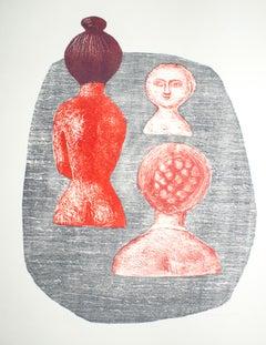 Donne a Ischia - Original Lithograph - 1952