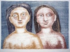 Due Nudi - Original Lithograph by M. Campigli - 1952