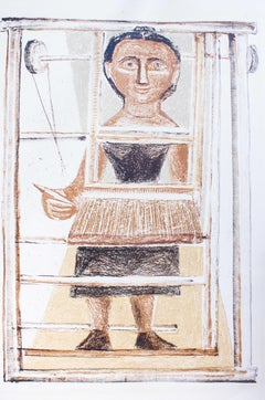 The Weaver - Original Lithograph by Massimo Campigli - 1952