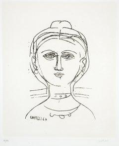 Woman - Original Etching by M. Campigli - 1964