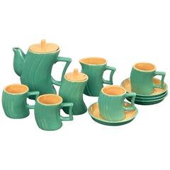 "Massimo Iosa Ghini Green Ceramic Italian ""Memphis"" Tea Set for Naj Oleari, 1985"