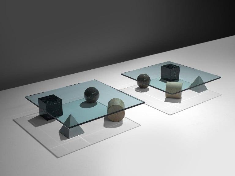 Post-Modern Massimo & Lella Vignelli 'Metafora' Coffee Table in Marble and Travertine