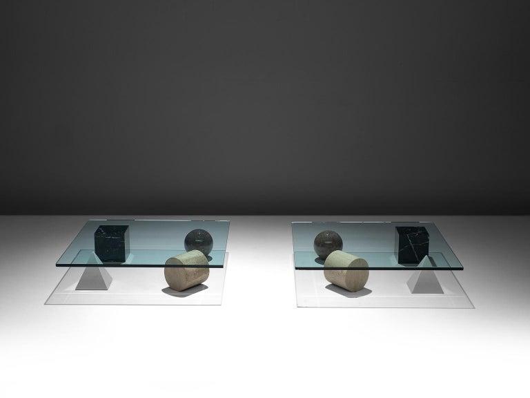 Italian Massimo & Lella Vignelli 'Metafora' Coffee Table in Marble and Travertine