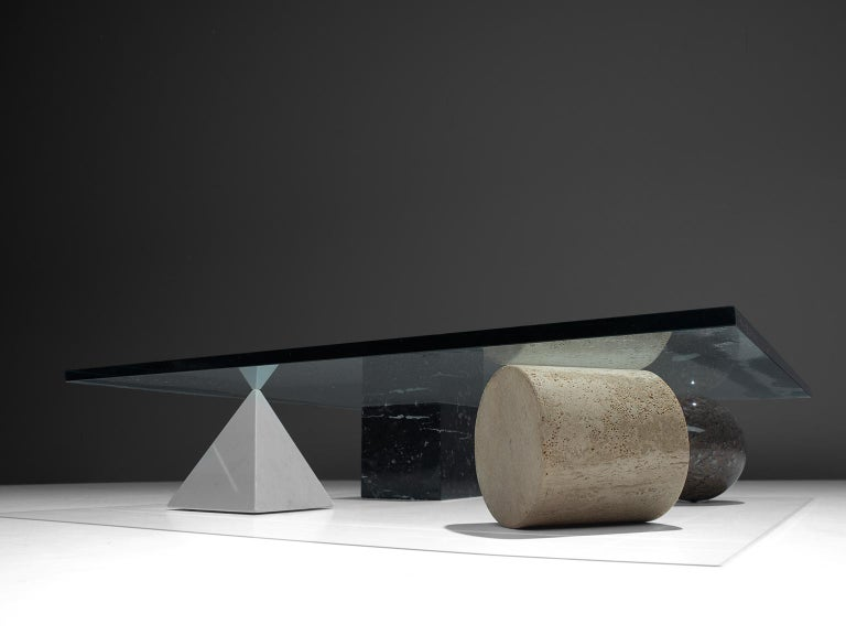 Massimo & Lella Vignelli 'Metafora' Coffee Table in Marble and Travertine In Good Condition In Waalwijk, NL