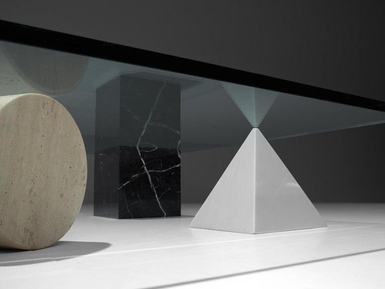 Late 20th Century Massimo & Lella Vignelli 'Metafora' Coffee Table in Marble and Travertine