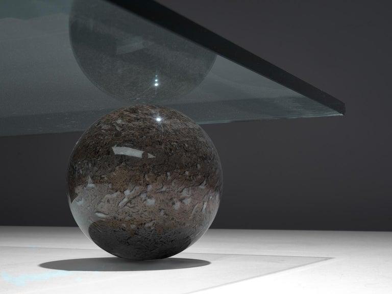 Glass Massimo & Lella Vignelli 'Metafora' Coffee Table in Marble and Travertine