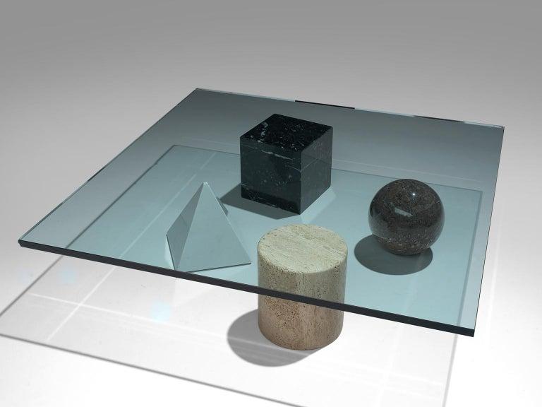 Massimo & Lella Vignelli 'Metafora' Coffee Table in Marble and Travertine 1