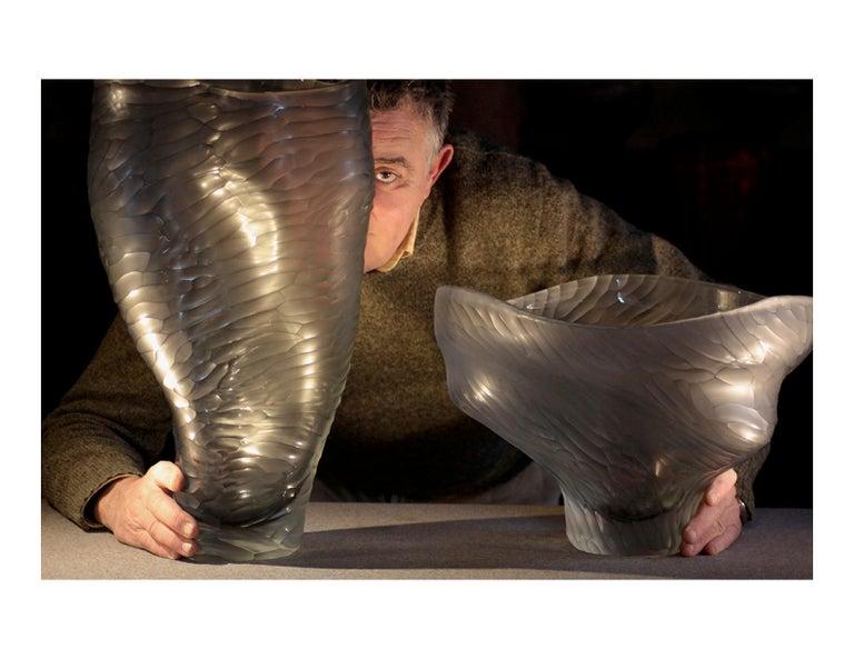 Massimo Micheluzzi Black Murano Glass Vase, Hand Blown and Battuto Cut, 2002 In Good Condition For Sale In New York, NY