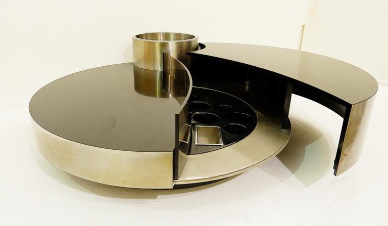 Massimo Papiri for Mario Sabot cocktail table with dry bar.