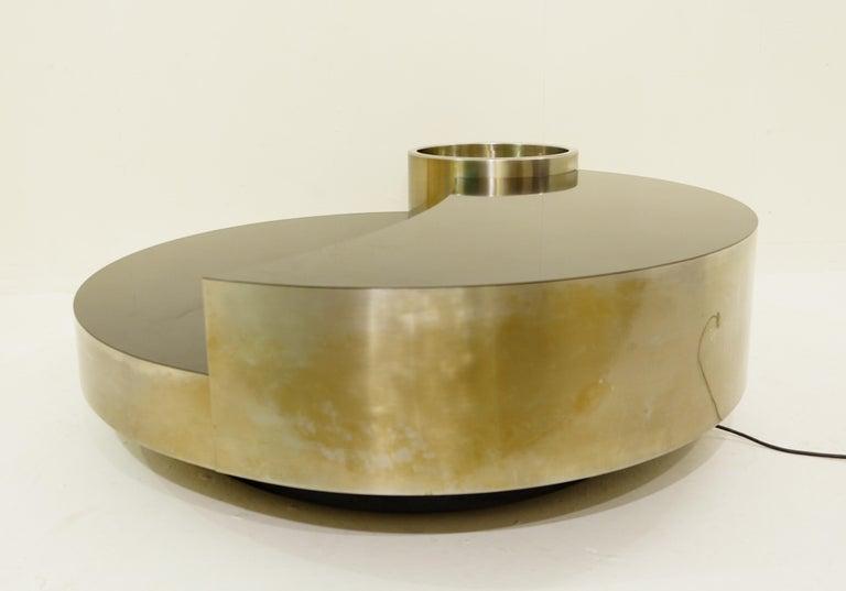 Metal Massimo Papiri for Mario Sabot Cocktail Table with Dry Bar