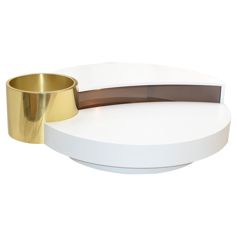 Massimo Papiri Italy Turning Wood & Brass Dry Bar, Coffee Table by Mario Sabot
