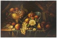 STILL LIFE - Italian oil on canvas painting, Massimo Reggiani