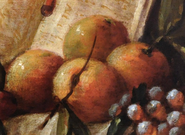STILL LIFE - Massimo Reggiani Italian oil on canvas painting - Old Masters Painting by Massimo Reggiani