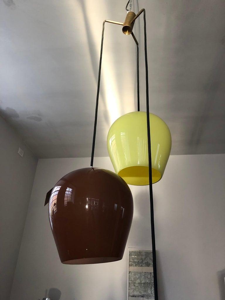 Massimo Vignelli for Venini Italian Midcentury Murano Pendant Glass Lamp, 1950s For Sale 5