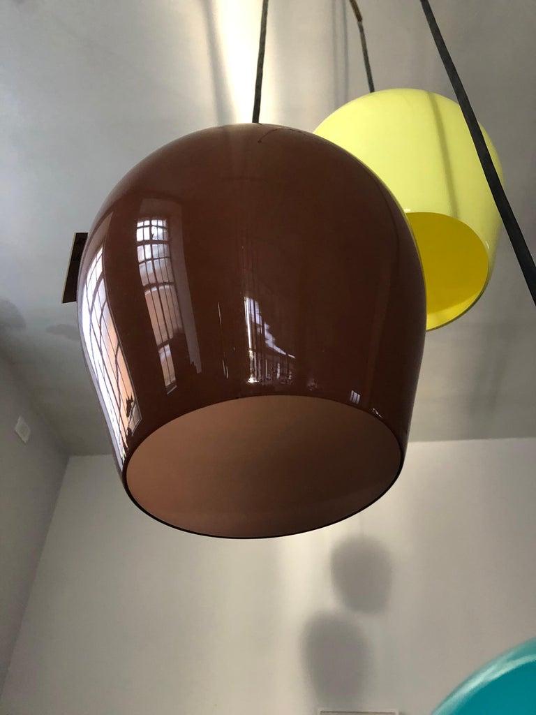 Massimo Vignelli for Venini Italian Midcentury Murano Pendant Glass Lamp, 1950s For Sale 7