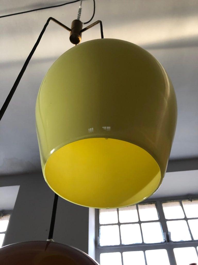 Massimo Vignelli for Venini Italian Midcentury Murano Pendant Glass Lamp, 1950s For Sale 8