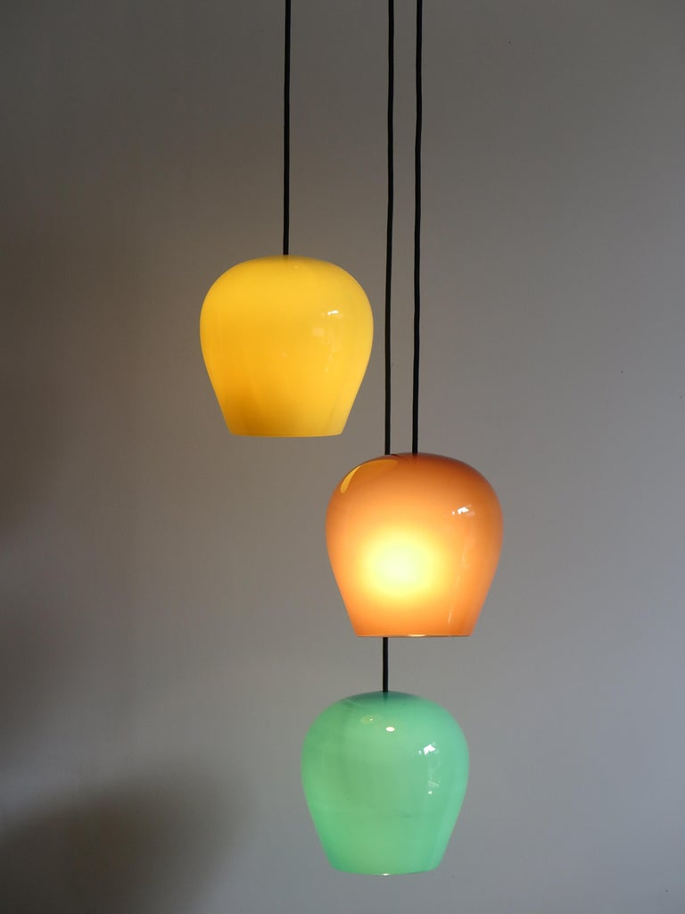 Mid-Century Modern Massimo Vignelli for Venini Italian Midcentury Murano Pendant Glass Lamp, 1950s For Sale