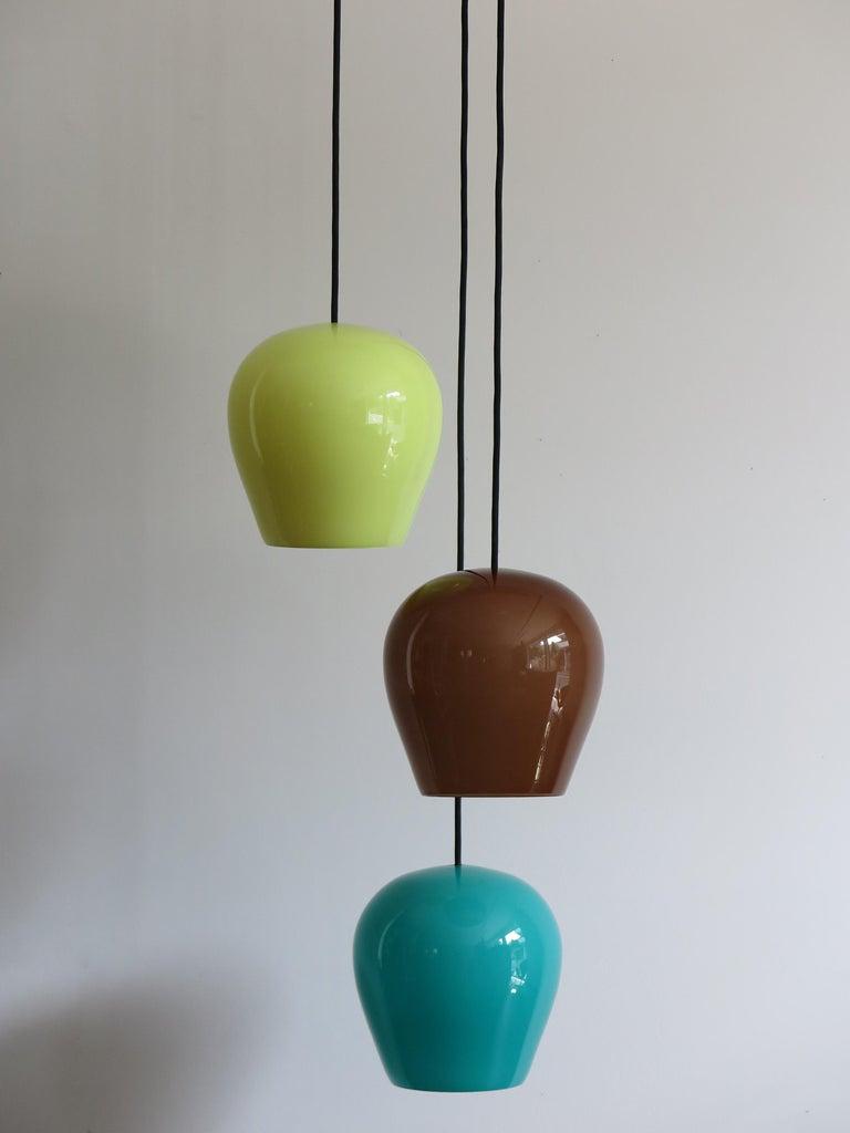 Massimo Vignelli for Venini Italian Midcentury Murano Pendant Glass Lamp, 1950s In Good Condition For Sale In Modena, IT