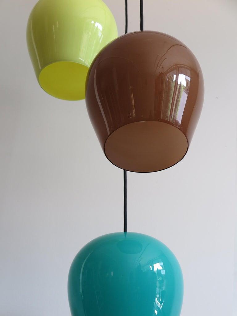 Massimo Vignelli for Venini Italian Midcentury Murano Pendant Glass Lamp, 1950s For Sale 2