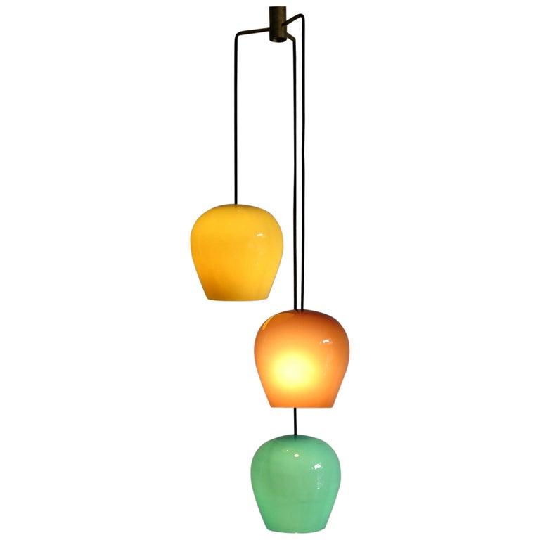 Massimo Vignelli for Venini Italian Midcentury Murano Pendant Glass Lamp, 1950s For Sale
