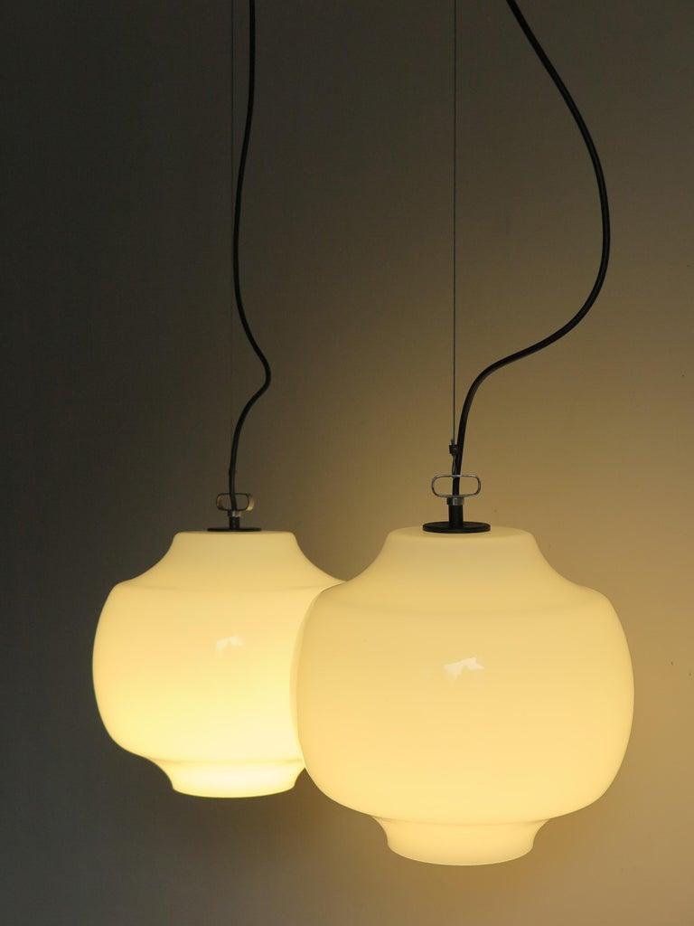 Mid-Century Modern Massimo Vignelli for Venini Murano Italian Pendant Lamps, 1960s For Sale