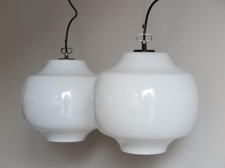 Massimo Vignelli for Venini Murano Italian Pendant Lamps, 1960s In Good Condition For Sale In Modena, IT