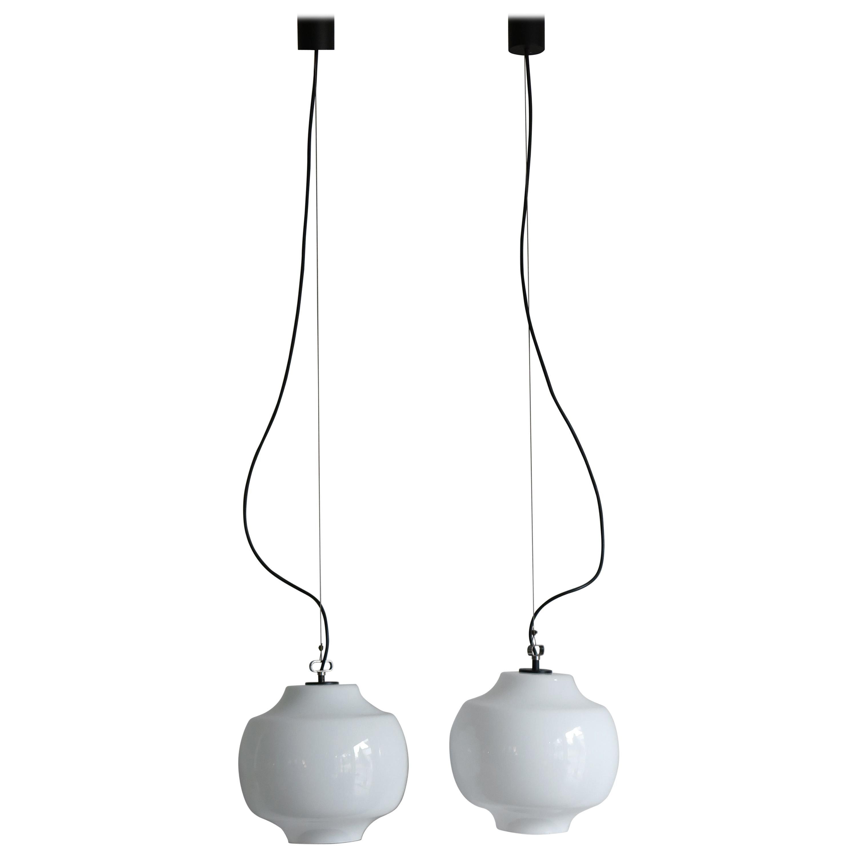 Massimo Vignelli for Venini Murano Italian Pendant Lamps, 1960s