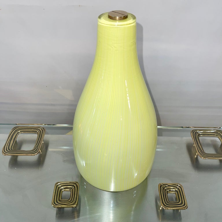 Italian Massimo Vignelli for Venini Yellow Onion Glass Uplighter Wall Sconce For Sale