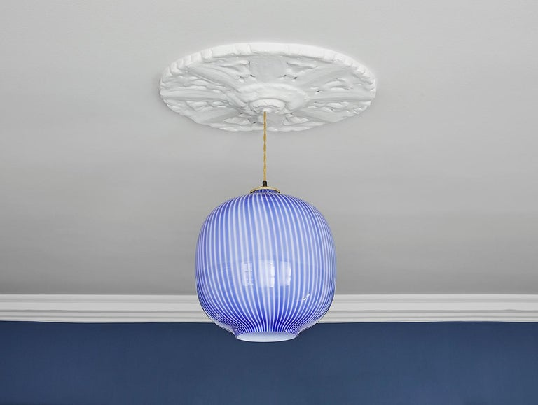 Lovely Venini glass ceiling pendant light in striped blue and white.