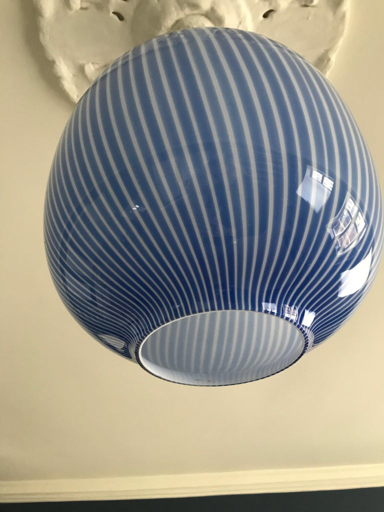 Mid-20th Century Massimo Vignelli Glass Pendant Light in Blue, Italy, 1950s For Sale