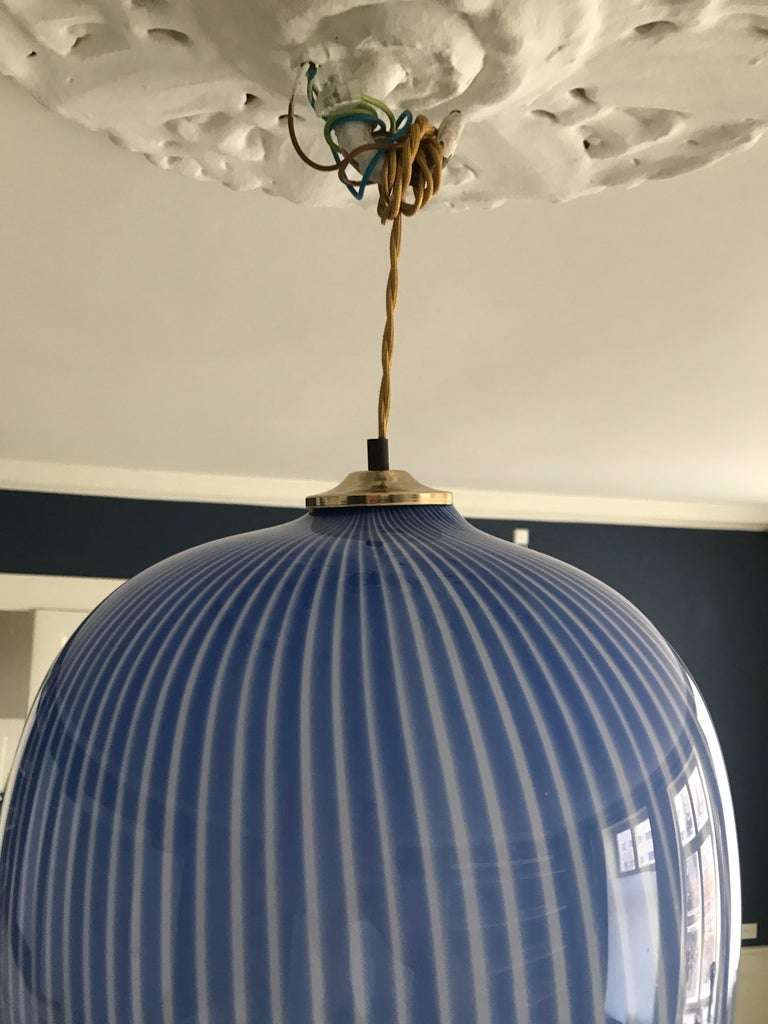 Massimo Vignelli Glass Pendant Light in Blue, Italy, 1950s For Sale 1