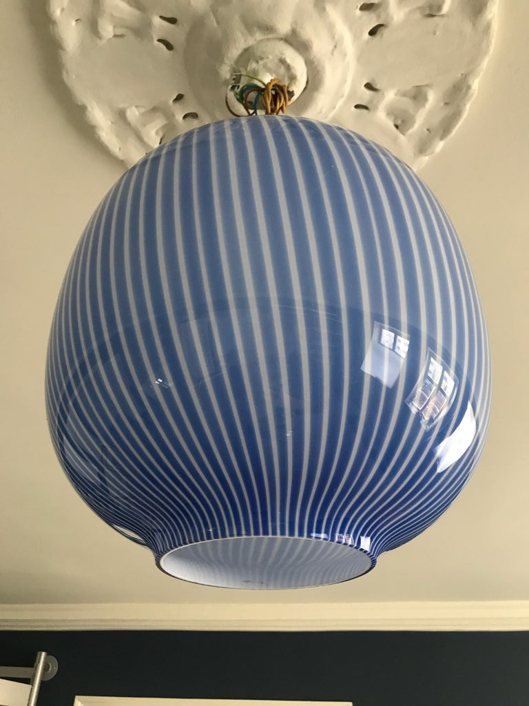 Massimo Vignelli Glass Pendant Light in Blue, Italy, 1950s For Sale 2