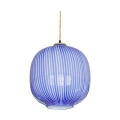 Massimo Vignelli Glass Pendant Light in Blue, Italy, 1950s