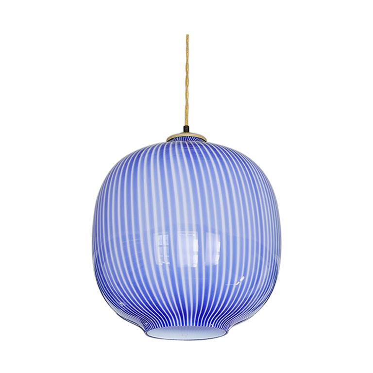 Massimo Vignelli Glass Pendant Light in Blue, Italy, 1950s For Sale