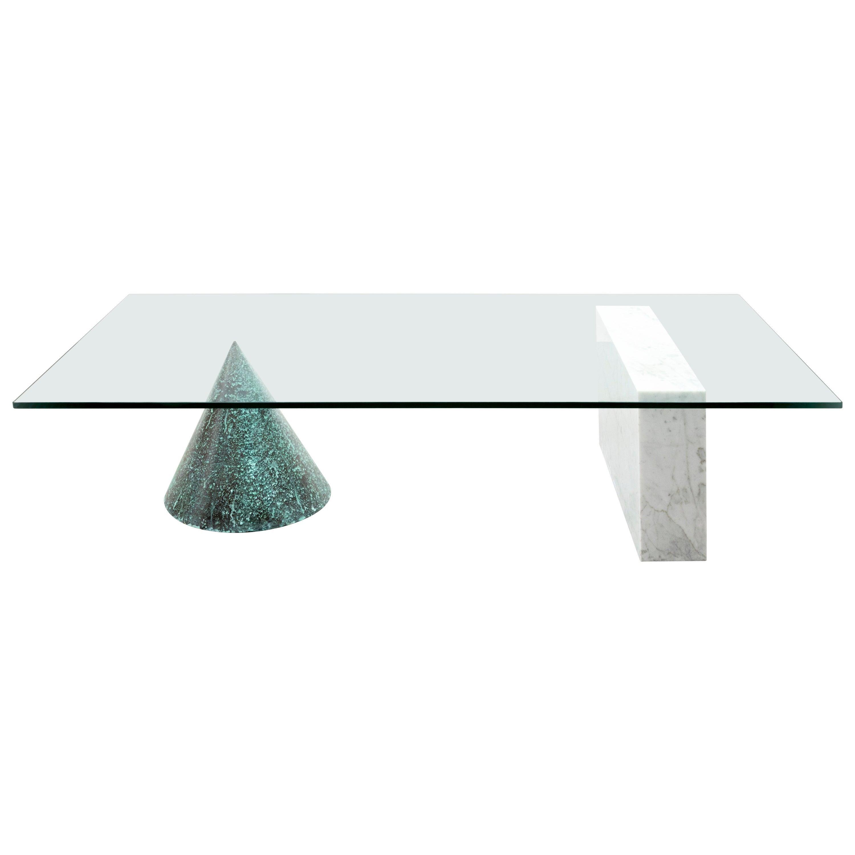 Massimo Vignelli Kono Table in Carrara Marble and Copper Casigliani, 1979