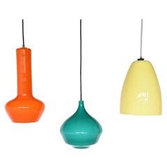 Massimo Vignelli Set of Three Pendant Lamps, Venini, Italy, 1960