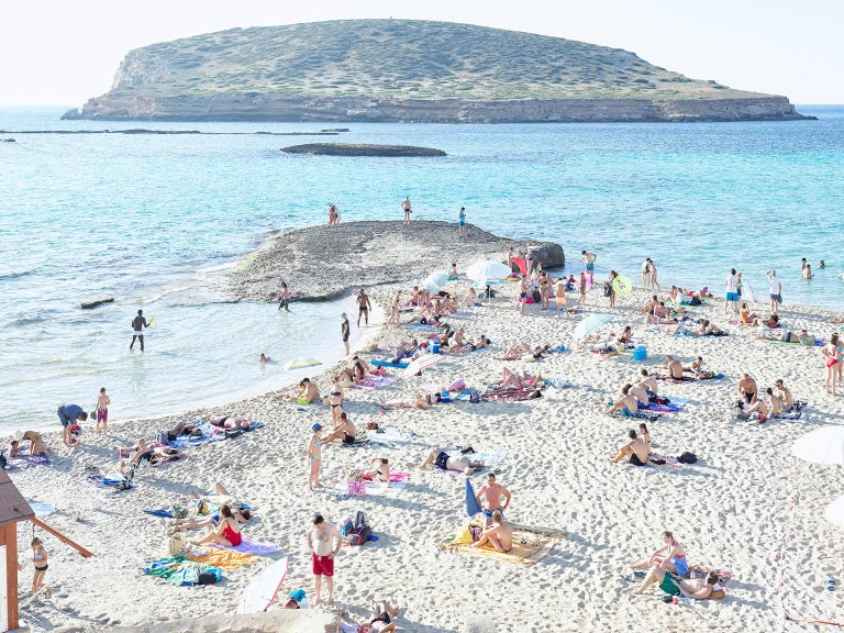 """Cala Conta Evening (2016)  large scale photograph by Italian photographer Massimo Vitali  73.7"""" x 97.5"""" 187.1 x 247.6cm  limited edition of 6 + 2AP  signed, titled and dated verso  chromogenic print with diasec (acrylic glass) mount with white"""
