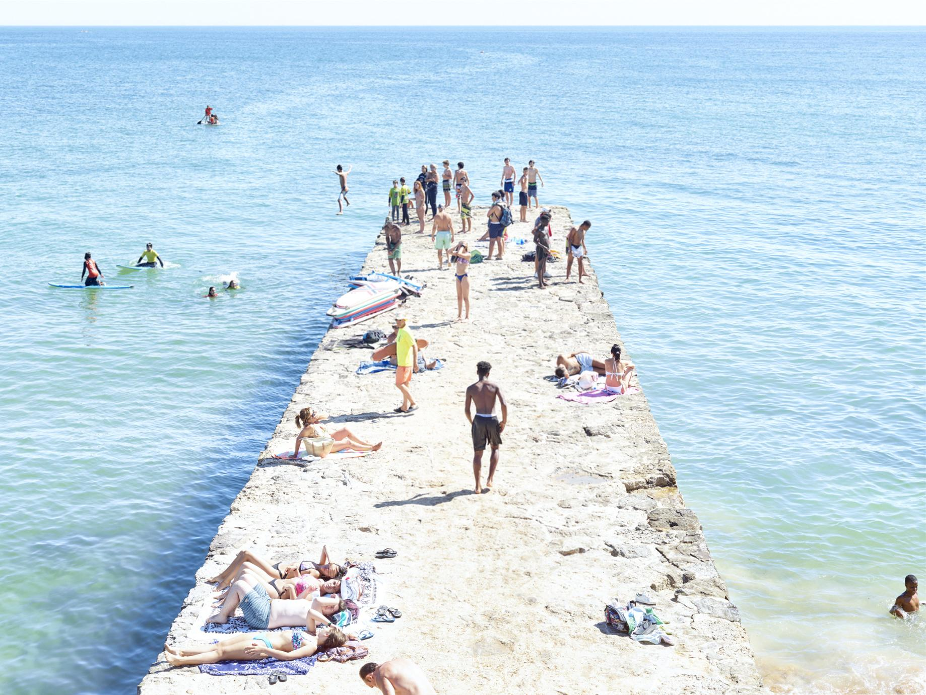 Carcavelos Pier Paddle - framed large scale photograph of summer beach scene