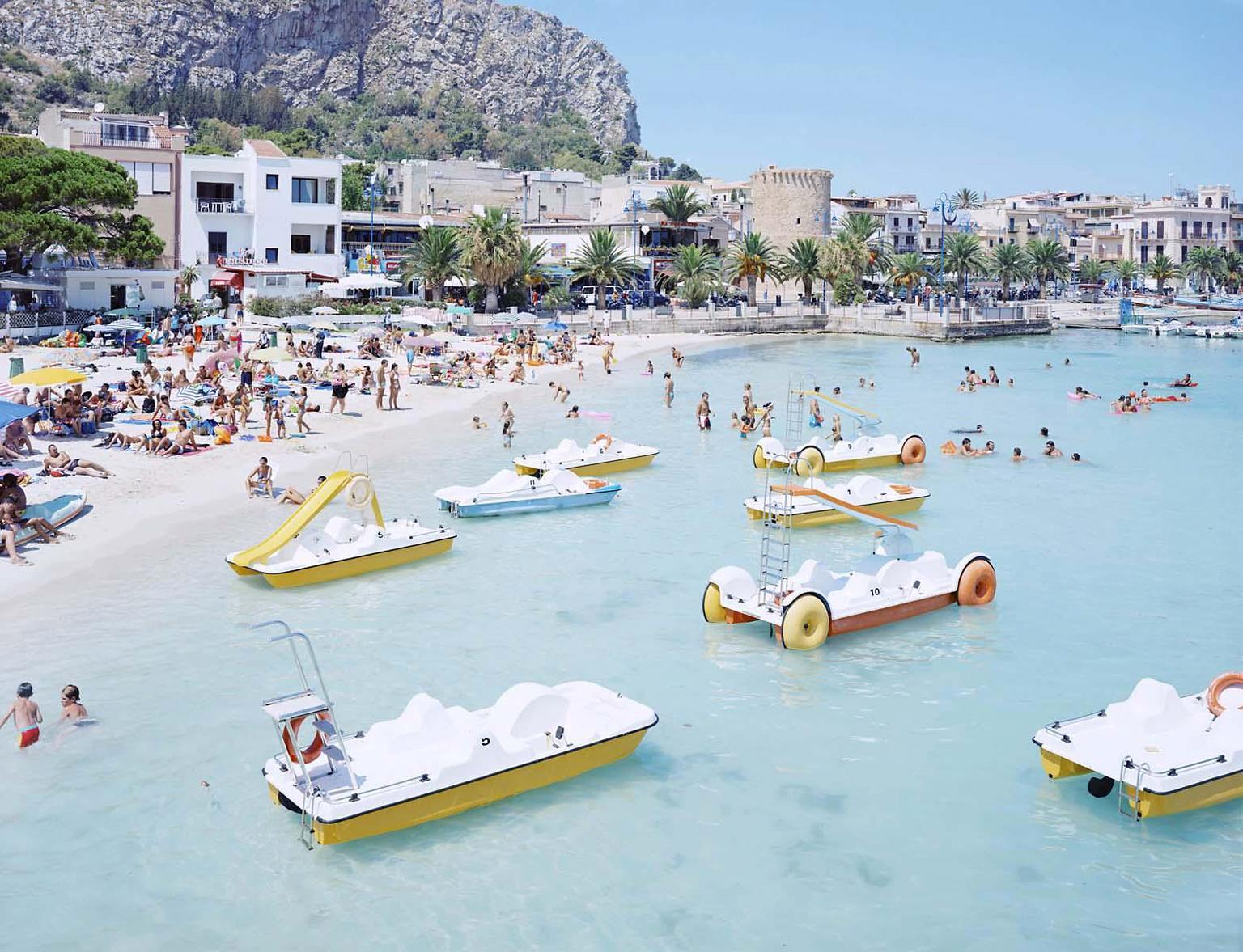 Mondello Paddle Boats - iconic Mediterranean summer beach scene (artist framed)