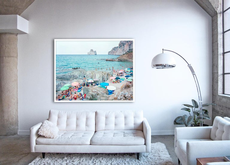 Pan di Zucchero - large scale photo of Mediterranean beach scene (framed)  - Photograph by Massimo Vitali