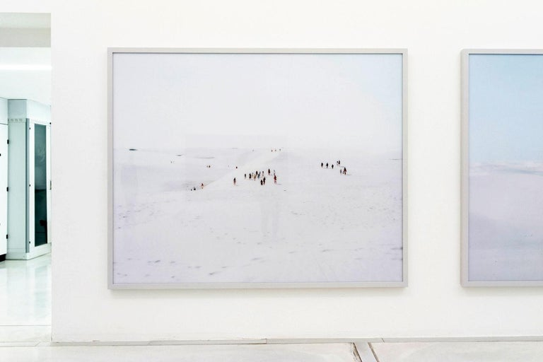 """large scale photograph of  summer beach scene in Puglia by Italian photographer Massimo Vitali, renowned for his grand scale topographical observations of the rites and rituals of modern leisure  Porto Miggiano (2011)   74"""" x 95"""" (framed) 188 cm x"""