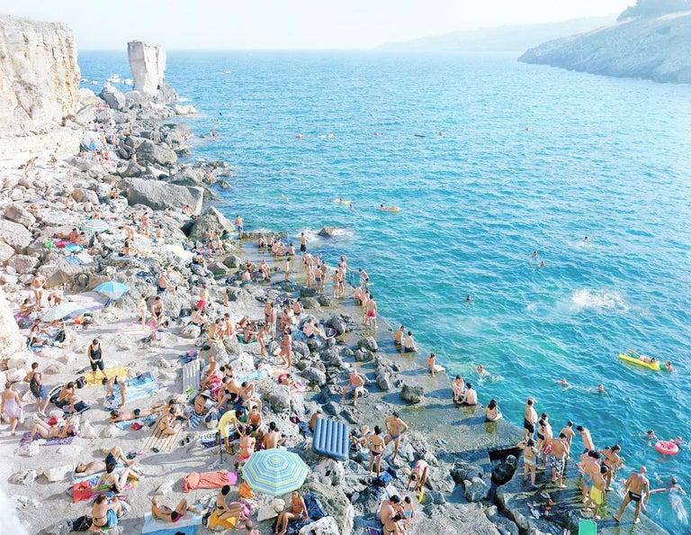 Massimo Vitali Landscape Photograph - Porto Miggiano - large scale Mediterranean beach scene (artist framed)