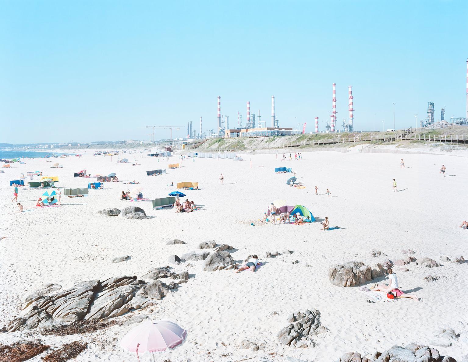 Praia do Aterro Galp Matosinhos large scale iconic beach scene (artist framed)