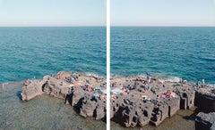 Santa Cesarea diptych - large scale Mediterranean beach scene (artist framed)
