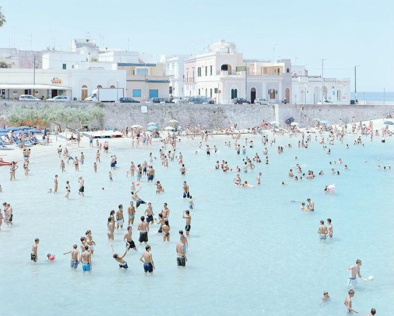 Santa Maria al Bagno diptych - large scale Mediterranean beach scene (framed) - Photograph by Massimo Vitali