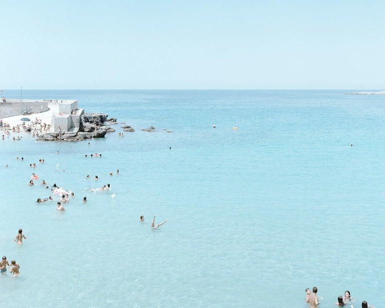 Santa Maria al Bagno diptych - large scale Mediterranean beach scene (framed) - Contemporary Photograph by Massimo Vitali