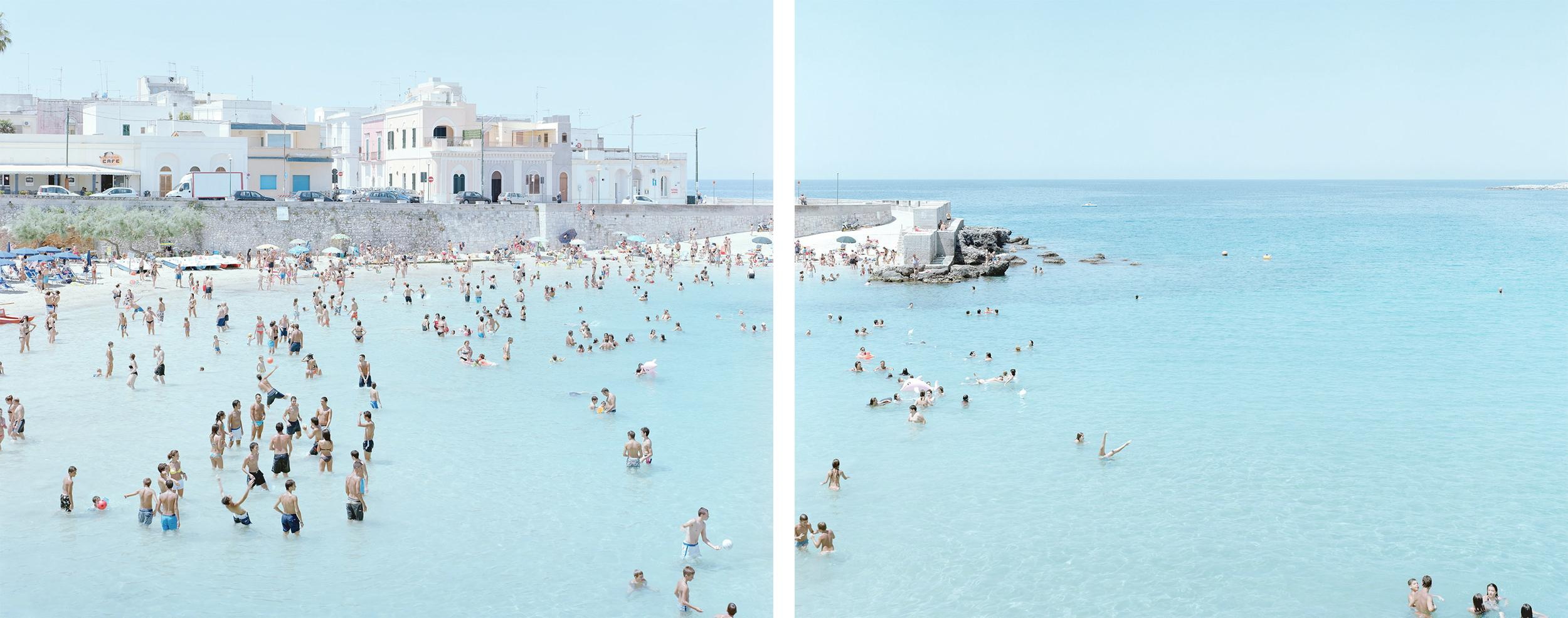 Santa Maria al Bagno diptych - large scale Mediterranean beach scene (framed)