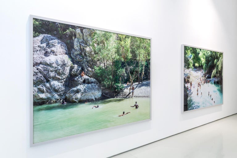"""large format photography diptych by Italian photographer Massimo Vitali, renowned for his grand scale topographical observations of the rites and rituals of modern leisure  Santa Maria al Bagno - Diptych (2010)  61.25"""" x 76"""